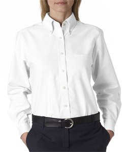 UltraClub womens Classic Wrinkle-Free Long-Sleeve Oxford(8990)-WHITE-M