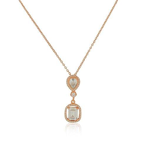 925 Sterling Silver Rose Gold-Tone Rectangular Teardrop CZ Elegant Pendant Necklace, 18