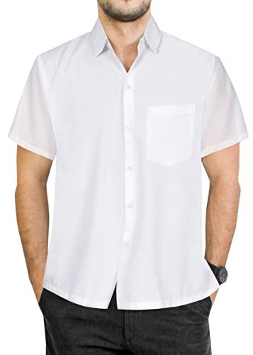 - LA LEELA Rayon Camp Button Down Men's Shirt White Large | Chest 44
