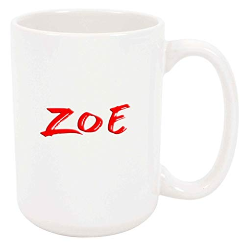 Zoe - White Mug - 15 Ounce Coffee Tea Mug, White Ceramic, Unique Name Present Gift Birthday Idea Girlfriend Wife Sister Mother Mom Grandmother Daughter Girl Aunt Niece Friend Woman Co-Worker