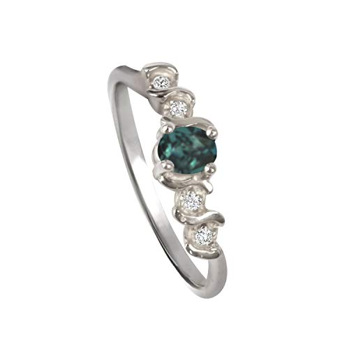 Natural Alexandrite Diamond Ring in 14K White Gold