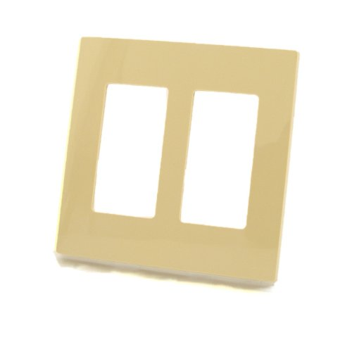 (Leviton 80309-SI 2-Gang Decora Plus Wallplate Screwless Snap-On Mount, Ivory)