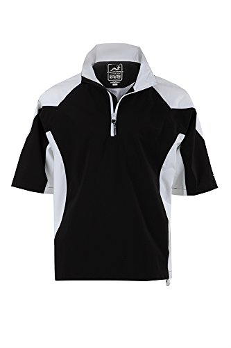 Man Golf Jacket - Woodworm Golf Mens Waterproof Rain Jacket Top – Short Sleeve Pullover Wind Top – European Fit Blk XL