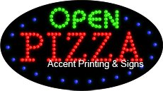 Open Pizza Flashing & Animated LED Sign (High Impact, Energy Efficient)