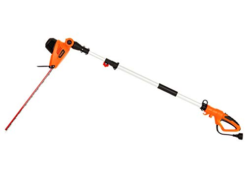 GARCARE 4.8-Amp Multi-Angle Corded Pole Hedge Trimmer with 20-Inch Laser Blade, Blade Cover Included (Renewed)
