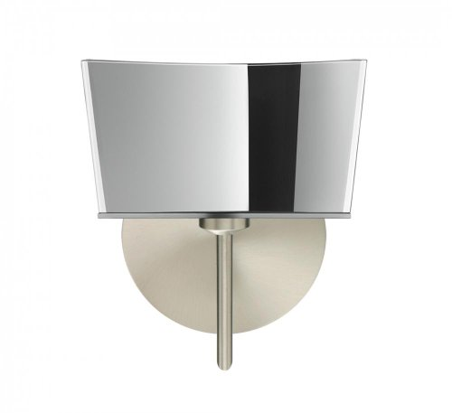 Besa Lighting 1SW-6773MR-SN 1X40W G9 Groove Wall Lighting Fixture with Mirror-Frost Glass, Satin Nickel Finish