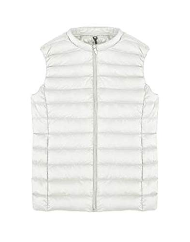 Lightweight Zip Round White Quilted Jackets Sleeveless up Collar Women Vest Gocgt Pqw7B5x
