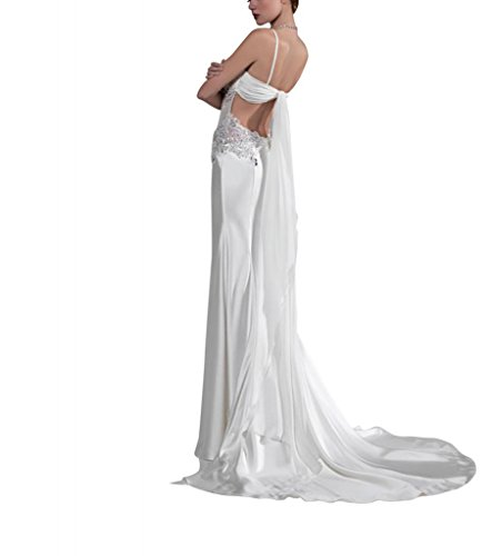Applikationen Chiffon BRIDE Zug Riemen Meerjungfrau Abendkleid Weiß GEORGE Perlen Pinsel mit Sweep Mantel gWPqwaw4