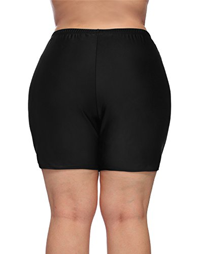 maysoul Women Plus Size Swim Shorts Boyleg Swimwear Shorts Solid Bikini Bottom 2X by maysoul (Image #4)