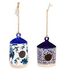 Ceramic Birdhouses - Evergreen Garden Blue and White Antique Ceramic Hanging Bird Houses, Set of 2