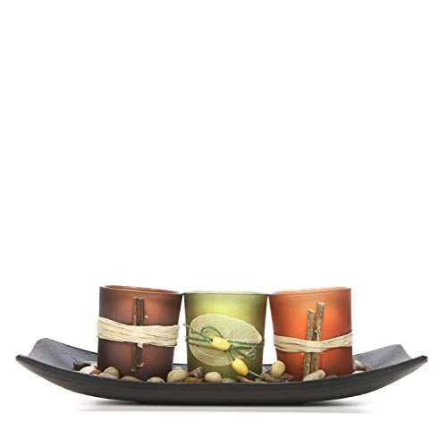 Hosley Natural Candlescape Set of 3 Decorative Candle Holders, Rocks and Tray 10 Long. Ideal Gift for Wedding, Party, Spa, Aromatherapy LED Tea Light Votive Candle Gardens O5