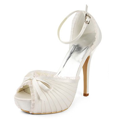 Heels Heels Dress amp;Amp; Silk Wedding Heel Stiletto Evening Shoes Women'S White White Toe Peep Party v04xqTIw7W