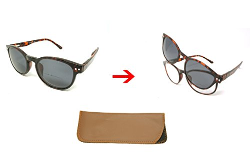 ColorViper Wayfarer Clear Biocal reader + Polarized Magnetic Clip on = Polarized Sunglasses Bifocal (schoolboy shiny brown tortoise + Magnetic polarized clip on, - Sunglasses Schoolboy
