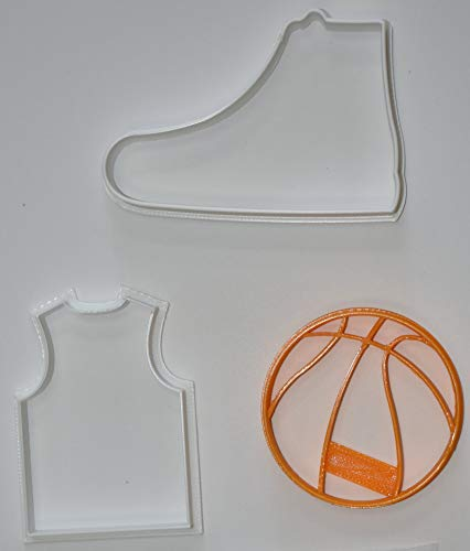 BASKETBALL TEAM SPORT HOOPS NBA WNBA NCAA FANTASY FINAL FOUR JERSEY SHOE BALL SET OF 3 SPECIAL OCCASION COOKIE CUTTERS BAKING TOOL 3D PRINTED MADE IN USA PR1080