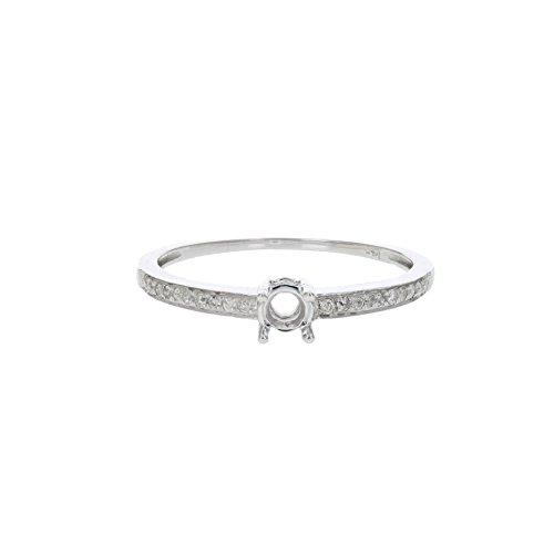 1/10 CT Diamond Semi Mount Engagement Ring 14K White Gold Size 7