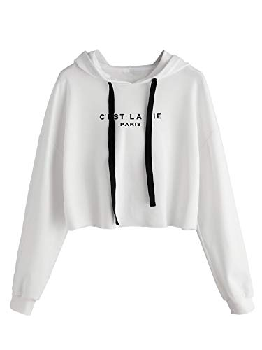 - Romwe Women's Letter Print Sweatshirt Raw Hem Drawstring Crop Top Hoodie White XS