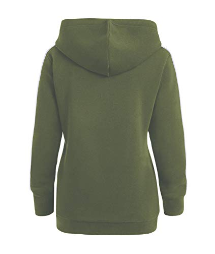 Stripe Capucha Lazo Verde Sudadera Playera Larga Ejército Camiseta T Manga shirt Rayas Pullover Con Hoodie Top Sweatshirt YaqxwI