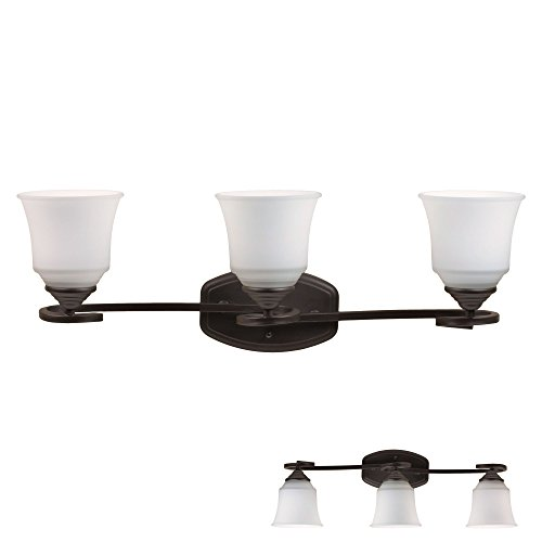 - Oil Rubbed Bronze Vanity Light 3 Bulb Bath Wall Fixture Curled Base White Glass Globes
