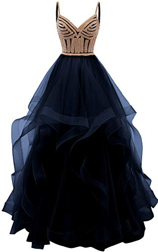 (Lilibridal Tulle Crystal Beaded Prom Dresses Tiered Formal Evening Dresses Spaghetti Strap Ball Gown(Navy Blue 18 Plus))