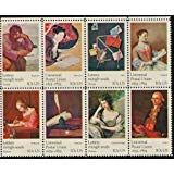 FAMOUS WORKS OF ART ~ UNIVERSAL POSTAL UNION #1537a Block of 8 x 10 cents US Postage Stamps
