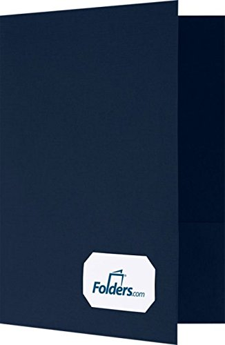 9 x 12 Presentation Folders - Standard Two Pocket w/Front Cover Lower Right Card Slits - Deep Blue Linen - Pack of 25 | Perfect for Tax Season, Brochures, Sales Materials and so Much More!