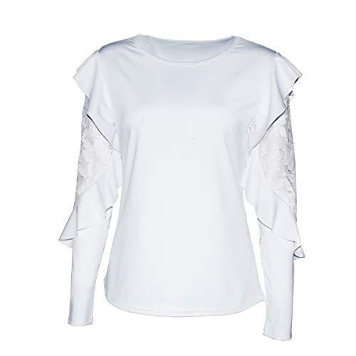 Maniche Pizzo Camicetta Dimensione In Patchwork Floreale colore M Da Con Lunghe Donna Scampanata A White rrq50