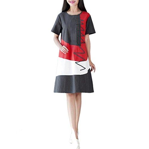 POLP Vestidos Largo ◉ω◉ Algodón y Lino Suelto Vestidos Mujer Verano Elegantes Tallas Grandes Vestidos,Fiesta Falda,Manga Cortas Vestido,Camisetas Vestido, Vestido Ropa de Trabajo Gris