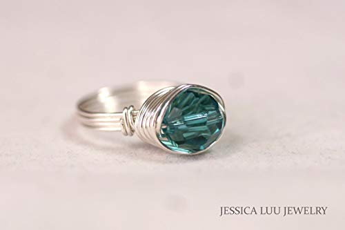 Sterling Silver Teal Blue Ring Indicolite Swarovski Crystal Ring Wire Wrapped Sterling Silver or Gold Filled