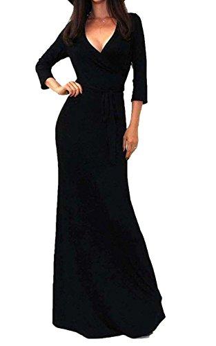 Minetom Damen Elegant Maxi Kleid Lange Ärmel Abendkleid V-Ausschnitt  Cocktailparty Kleid Schwarz 3f4EmZCFTP 10ce5ab8bd