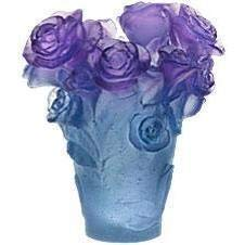 Daum Crystal Rose Passion Blue Purple Vase 05287-3 ()