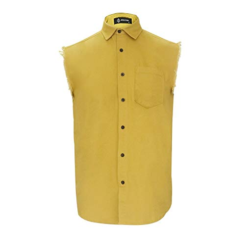 - MCULIVOD Men's Sleeveless Denim Cotton Shirt Biker Vest Cowboy Button Down with Shirts Front Pocket Yellow
