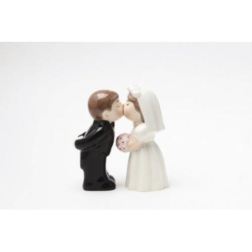 """Bride Groom Kissing"" Magnetic Salt & Pepper Set"