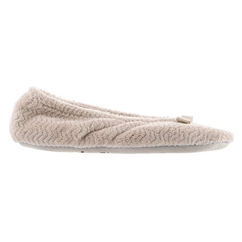 (ISOTONER Women's Chevron Microterry Ballerina House Slipper with Moisture Wicking and Suede Sole for Comfort Taupe)