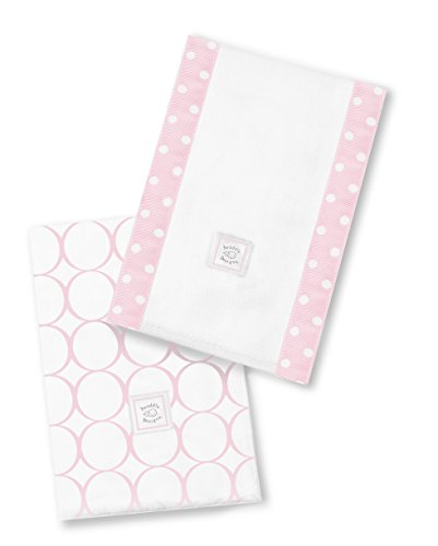 Mod Pink Circles (SwaddleDesigns Baby Burpies, Set of 2 Cotton Burp Cloths, Pastel Pink Mod Circles)