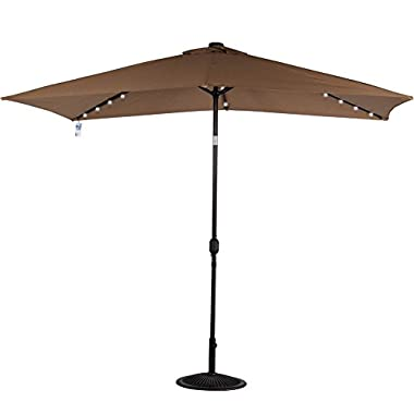 Sundale Outdoor Rectangular Solar Powered 22 LED Lighted Outdoor Patio Umbrella with Crank and Tilt, Aluminum, 10 by 6.5-Feet (Tan)