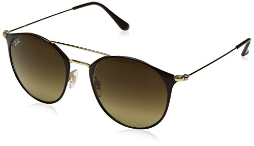Ray-Ban Steel Unisex Round Sunglasses, Gold Top Brown, 52 mm by Ray-Ban