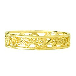14K Gold Scroll Cut-out Band Toe Ring [size 2] Beaded, HP