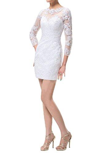 ivyd ressing Mujer de gran calidad Funda de línea de largo aermel Punta fijo vestido Prom para vestido de noche Weiß
