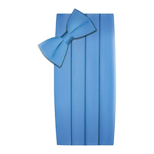 Men's Formal Satin Bowtie and Cummerbund Set - Light Blue