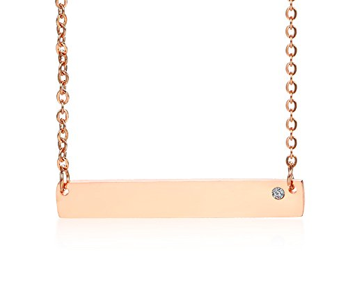 VNOX Personalized Custom Rhinestone 18K Rose Gold Plated Stainless Steel Name Bar Necklace for Girl