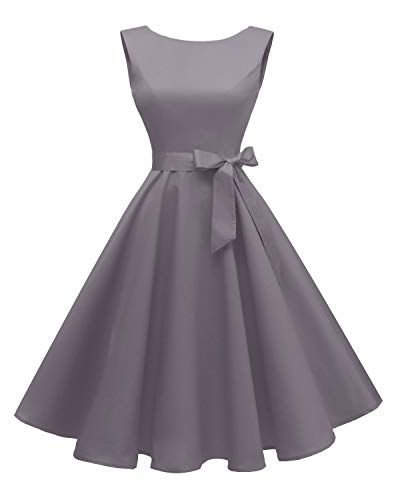 Hanpceirs Women's Boatneck Sleeveless Swing Vintage 1950s Cocktail Dress Gray XS ()