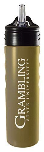 - LXG, Inc. Grambling State University-24oz. Stainless Steel Grip Water Bottle with Straw-Gold