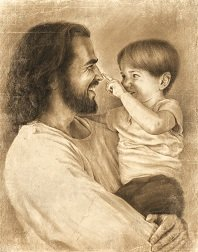 (David Bowman Innocence Wall Art Print Jesus Christ Holding Child Religious Spiritual Christian Fine Art (Plaque 8