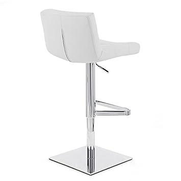 Zuri Furniture White Lattice Square Base Adjustable Height Swivel Armless Bar Stool