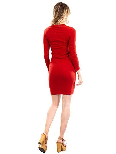 Women's Surplice Dress Midi Instar Mode Bodycon Idrw018 Stretch Mini Rust TxA75q