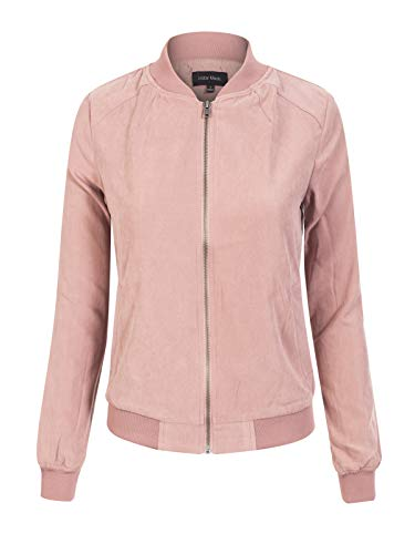 - Instar Mode Women's Casual Faux Suede Stand Collar Zip Up Bomber Short Jacket Bright Pink S