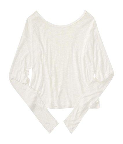 Aeropostale Women's Junie And Jade Sheer Long Sleeve Crochet-Back Top M Cream