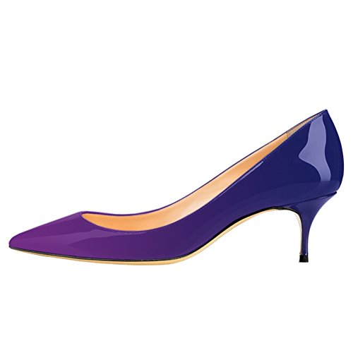 Pumps MERUMOTE Women's Kitten Heels Purple Shoes Toe Office Blue Pointy Work Crd8r