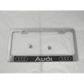 Amazon.com: Audi Chrome License Plate Frame w/ Carbon Fiber Style ...