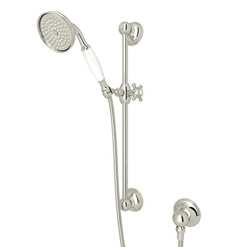(Rohl 1300EPN Country Anti-Cal Single Function Hand Shower Set with White Resin Handle, Slide Bar, Hose and Wall, Polished Nickel)